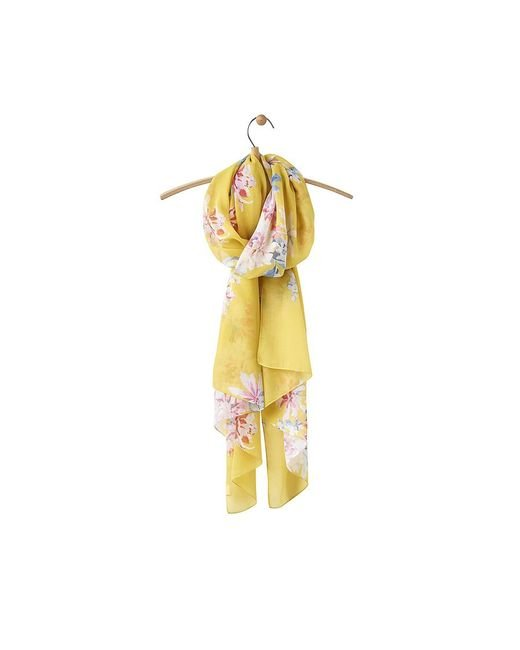 Joules Yellow Wensley Long Line Woven Scarf
