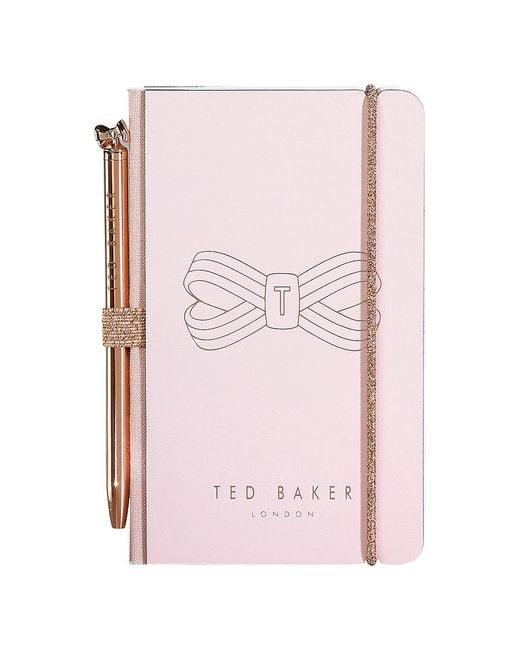 Ted Baker Pink Mini Notebook & Pen Set