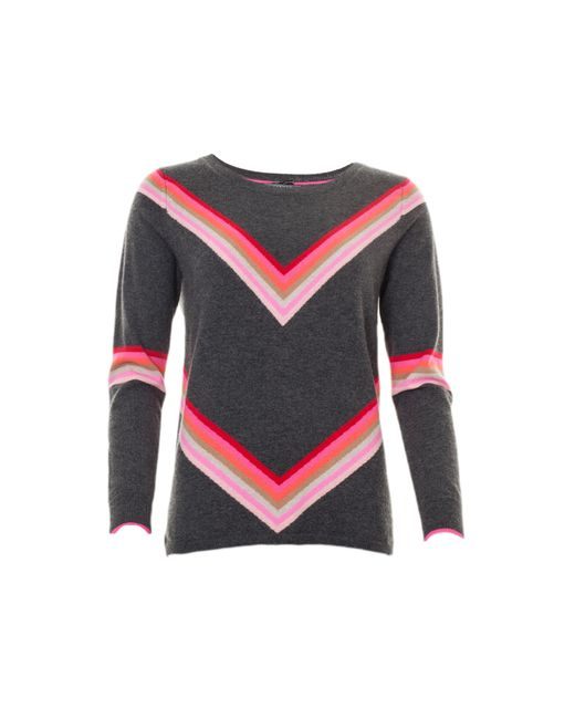 Cocoa Cashmere Brown Rainbow Stripe Knit