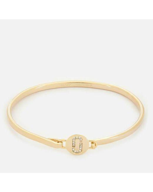 Marc Jacobs - Metallic Women's Double J Pave Hinge Cuff Bracelet - Lyst