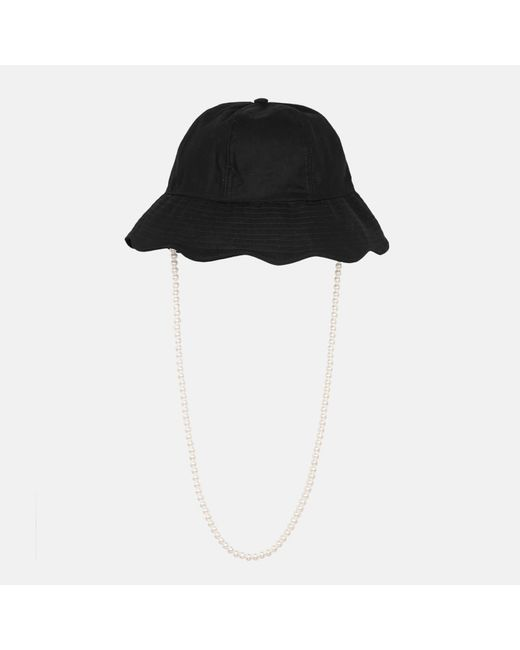 Shrimps Black Teo Hat With Pearls