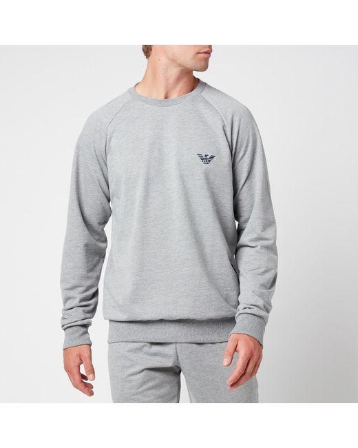 Emporio Armani Gray All Over Logo Terry Crew Neck Sweatshirt for men