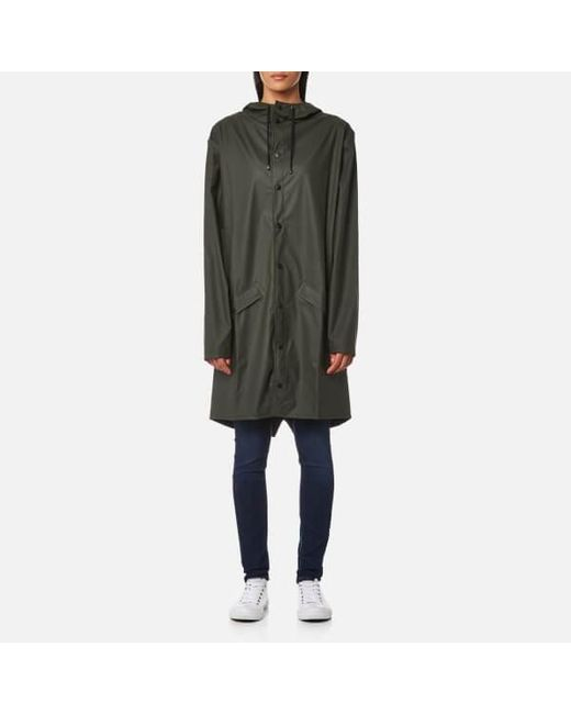 Rains Mens Long Hooded Rain Jacket with Poppers in Green for Men ...