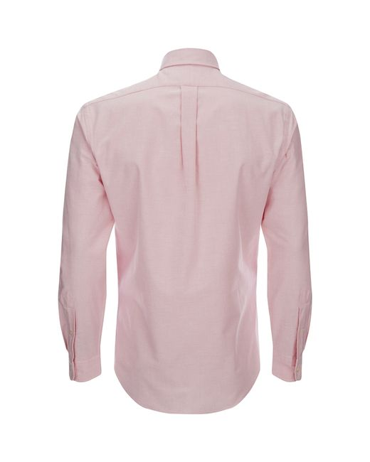 Polo ralph lauren men 39 s slim fit button down stretch for Pink oxford shirt men