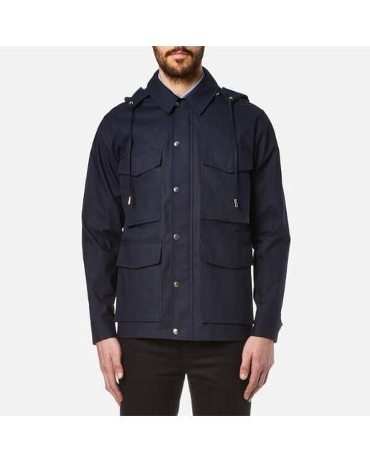 Ami Men's Canvas Parka Jacket in Blue for Men | Lyst