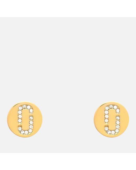 Marc Jacobs Double J Pave stud earrings - Metallic B0fdPtb4m