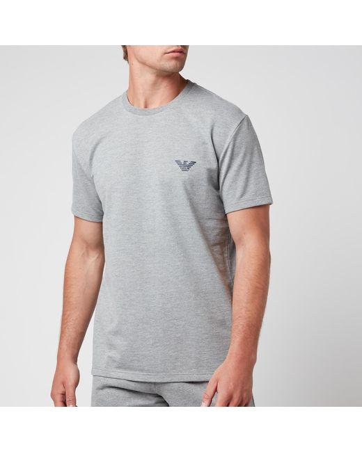 Emporio Armani Gray All Over Logo Terry Crew Neck T-shirt for men