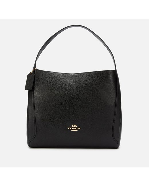 COACH Black Polished Pebble Leather Hadley Hobo Bag