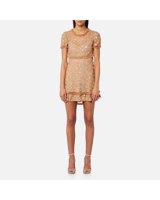 d7afdb46ba For Love & Lemons Golden Garden Tulle Mini Dress in Metallic - Lyst