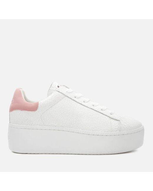 Ash - White Women's Cult Cracked Leather Flatform Trainers - Lyst