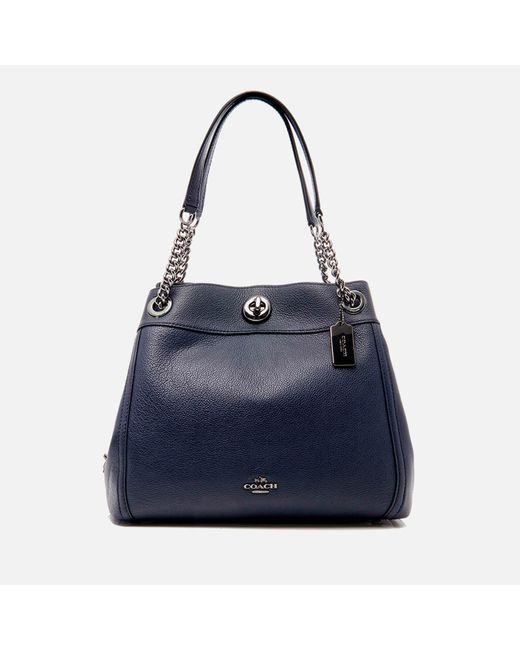 COACH Blue Turnlock Edie Shoulder Bag