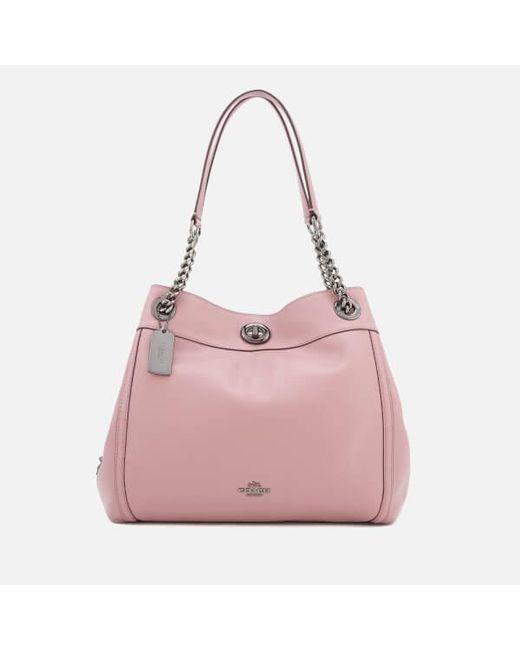 COACH - Pink Women's Turnlock Edie Shoulder Bag - Lyst