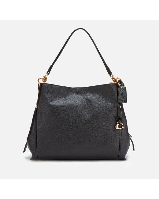 COACH Black Polished Pebble Leather Dalton 28 Shoulder Bag
