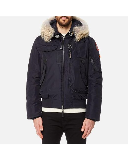 Parajumpers - Blue Men's Gobi Faux Fur Bomber Jacket for Men ...
