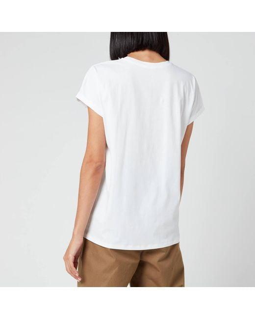 Balmain White Flocked University T-shirt