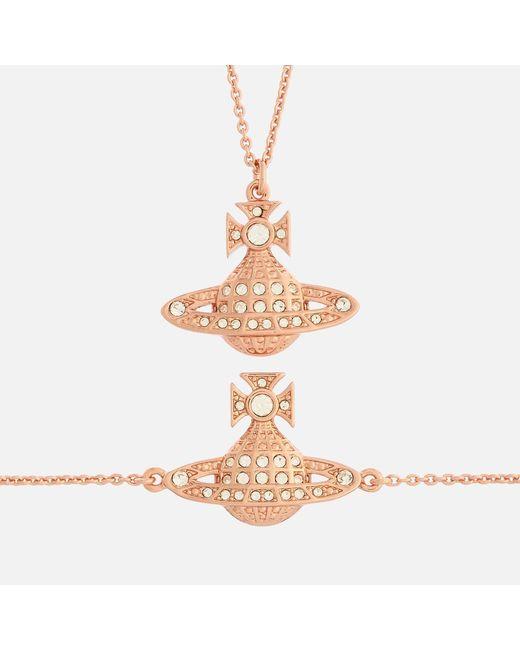 Vivienne Westwood Metallic Minnie Bas Relief Pendant And Bracelet Giftset