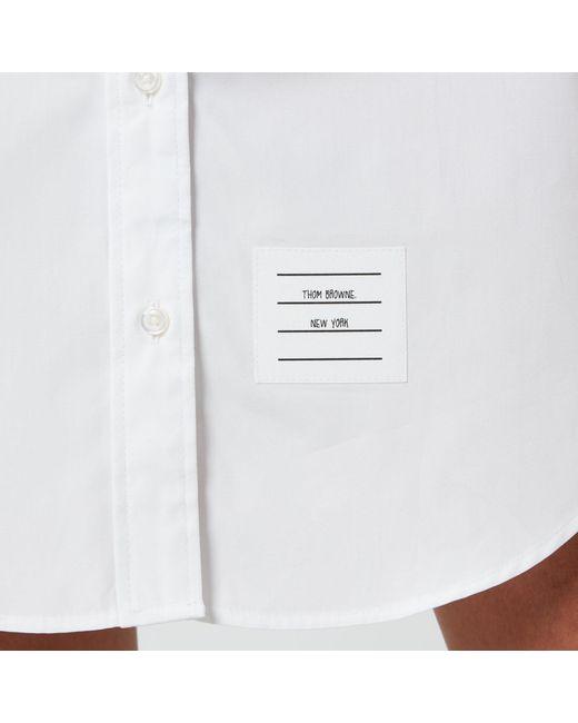 Thom Browne White Classic Long Sleeve Button Down Shirt Dress
