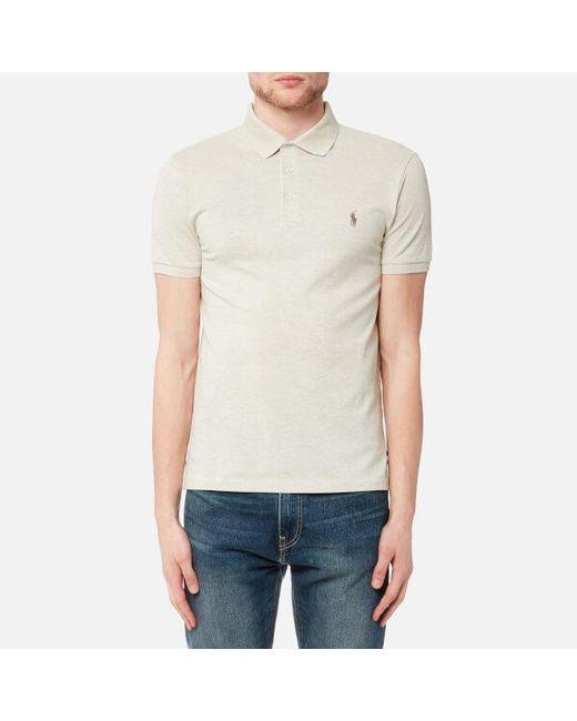 Lyst polo ralph lauren men 39 s short sleeve stretch mesh for Stretch polo shirt mens
