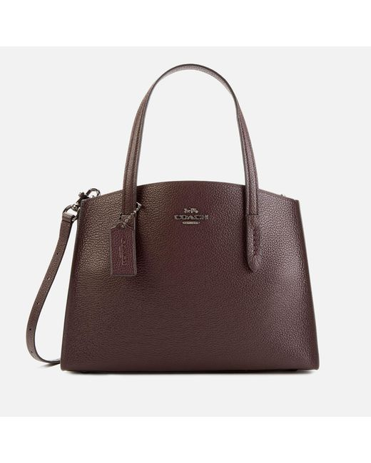 COACH Brown Polished Pebble Leather Charlie 28 Carryall Bag