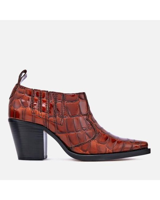 Ganni Nola embossed leather ankle boots sPhCXX9Ax9