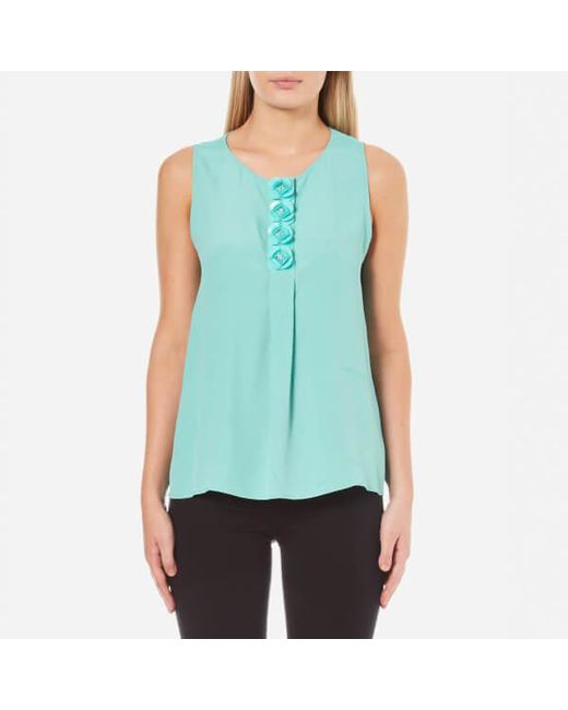 Boutique Moschino - Blue Women's Flower Detail Sleeveless Blouse - Lyst