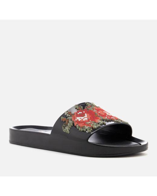 487ef5be2bf365 ... Melissa - Black Flower Pixel Beach Slide Sandals - Lyst ...