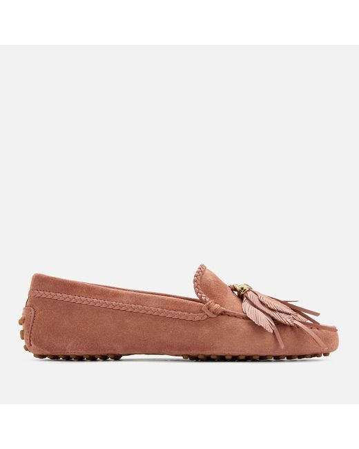 Tod's Brown Gommino Feather Moccasin Shoes