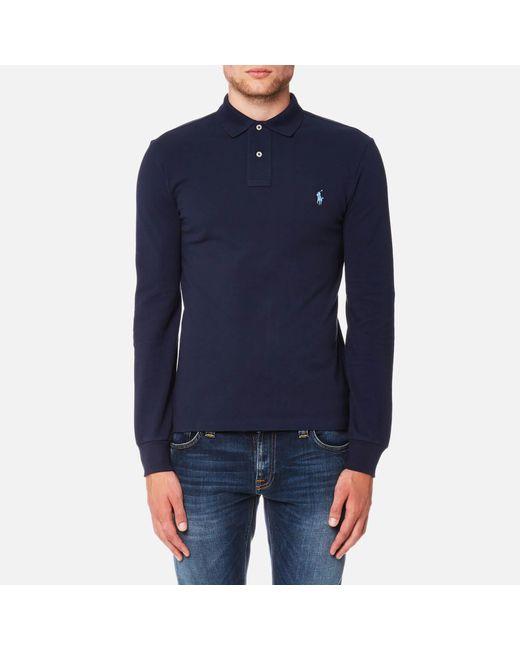 9bff72ca Polo Ralph Lauren - Blue Men's Slim Fit Long Sleeve Polo Shirt for Men -  Lyst ...