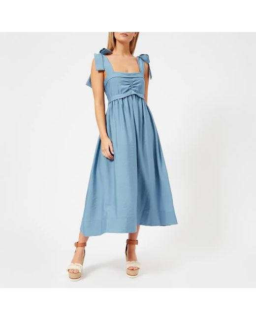 See By Chloé - Blue See By Chloe Women's Wide Tie Strap Midi Dress - Lyst
