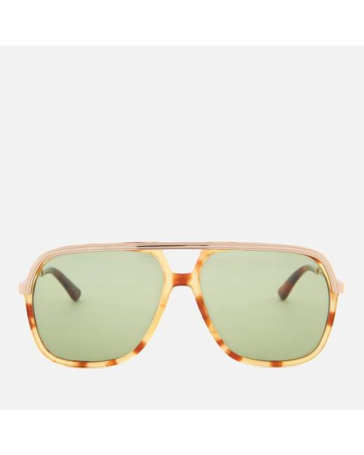 7f186132c3a Gucci - Brown Metal Aviator Sunglasses for Men - Lyst ...