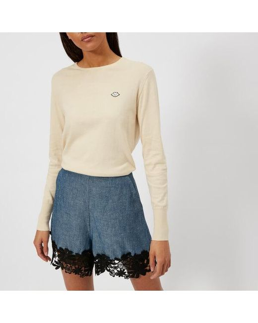 See By Chloé - Natural Women's Logo Knit Jumper - Lyst