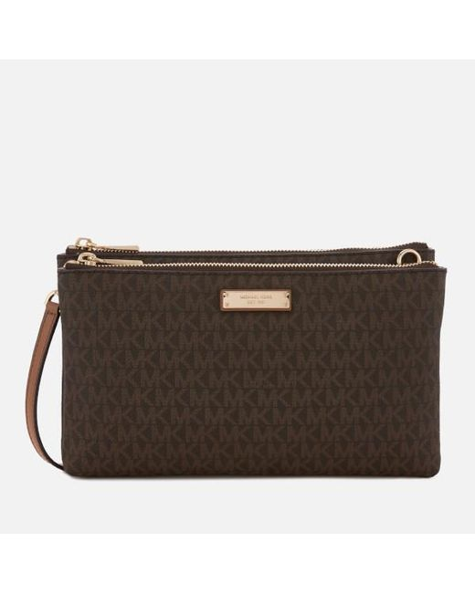 96b57590d7c1 MICHAEL Michael Kors - Brown Women's Adele Double Zip Cross Body Bag ...