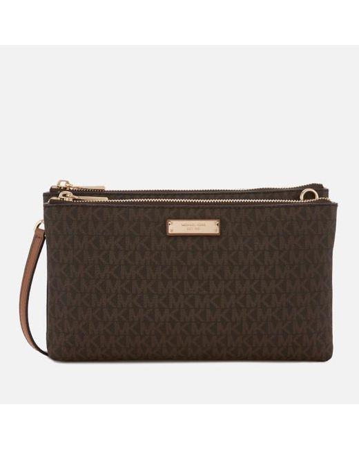 c5eddbd961847 MICHAEL Michael Kors - Brown Women s Adele Double Zip Cross Body Bag - Lyst  ...