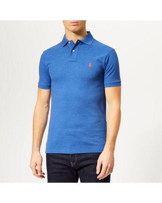 309227fcc Polo Ralph Lauren - Blue Men s Slim Fit Mesh Polo Shirt for Men - Lyst ...