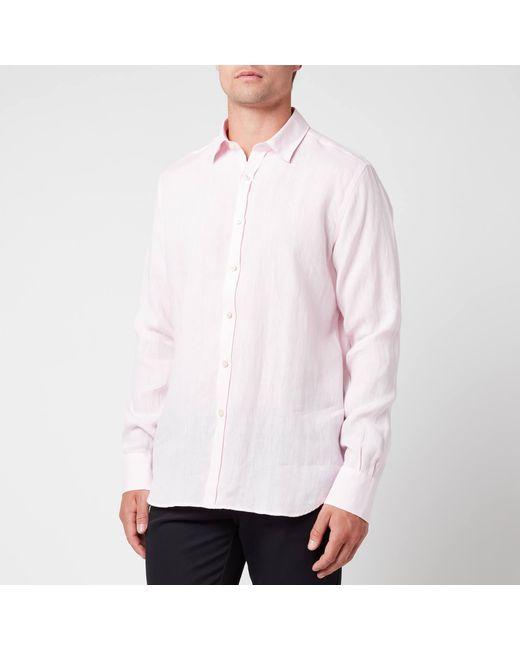 Canali Pink Linen Regular Fit Shirt for men