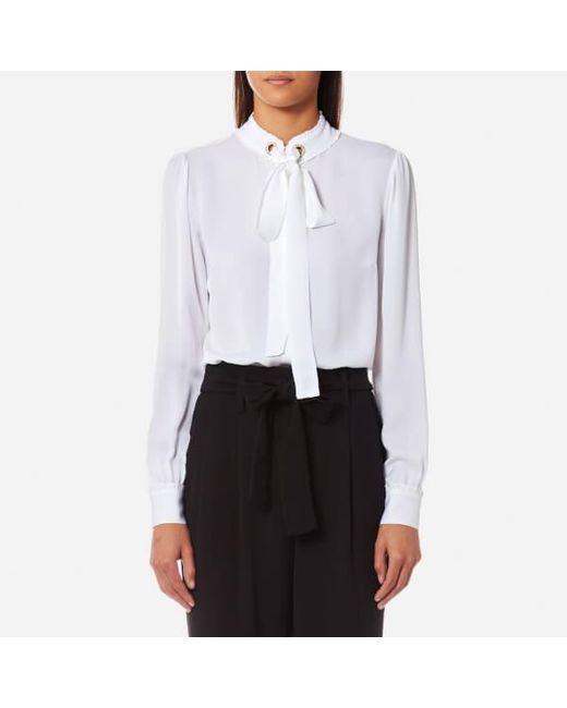 MICHAEL Michael Kors - White Michael Women's Grommet Neck Tie Blouse - Lyst