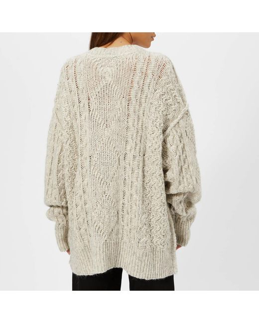 232e4f8fdef40a ... MM6 by Maison Martin Margiela - White Gauge Oversized Cable Knitted  Jumper With Pocket - Lyst ...