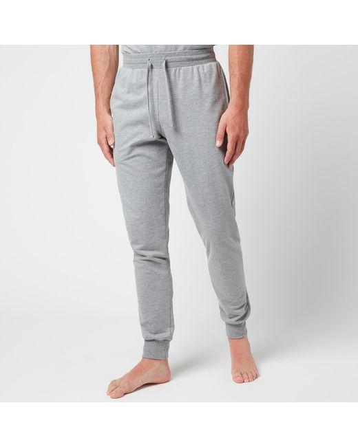 Emporio Armani Gray All Over Logo Terry Trousers for men