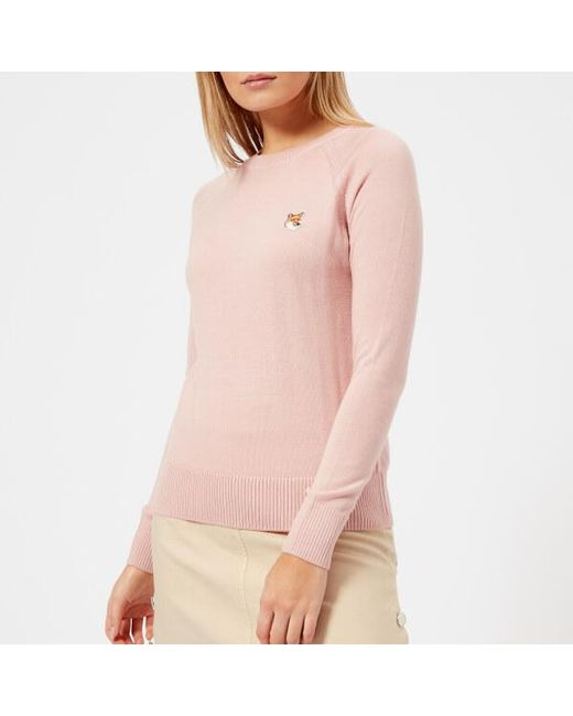 Maison Kitsuné - Pink Women's Fox Patch Merino Jumper - Lyst