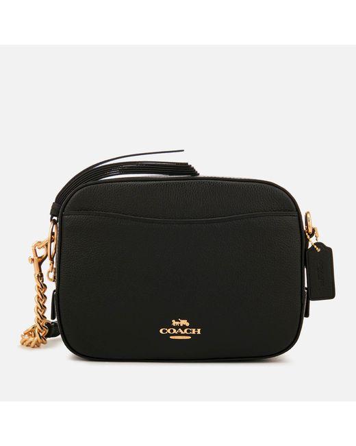 COACH Black Polished Pebble Leather Camera Bag