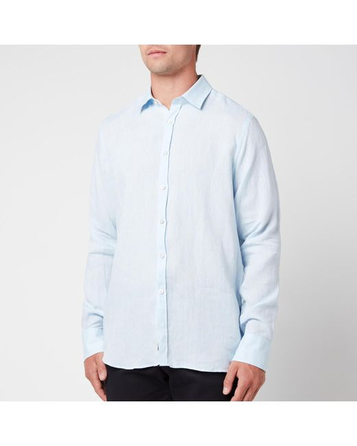 Canali Blue Linen Regular Fit Shirt for men