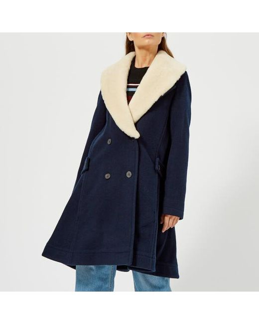 J.W. Anderson - Blue Women's Swing Coat With Shearling Collar - Lyst