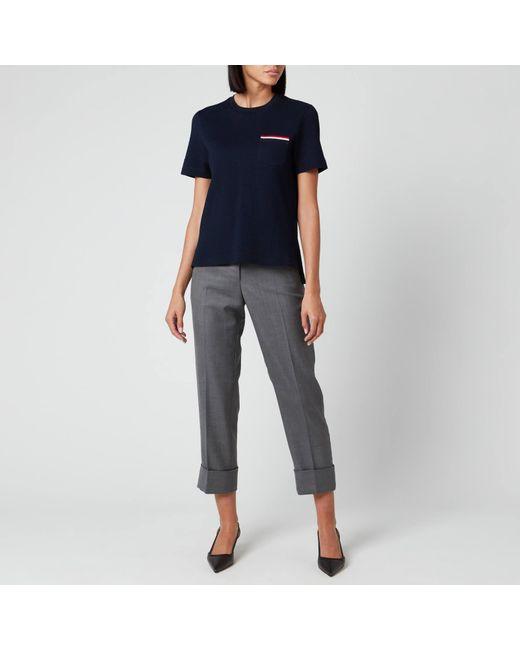 Thom Browne Blue Short Sleeve Pocket T-shirt