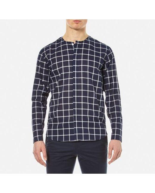 Folk   Blue Men's Collarless Shirt for Men   Lyst