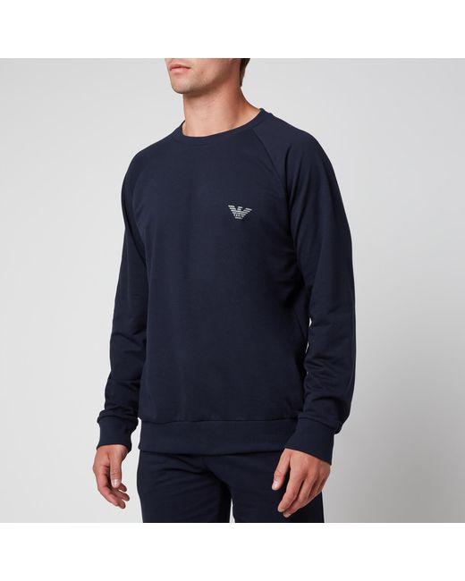 Emporio Armani Blue All Over Logo Terry Crew Neck Sweatshirt for men