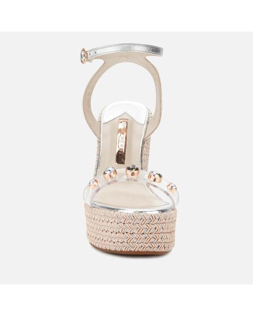 Sophia Webster Metallic Dina Gem Espadrille Heeled Sandals