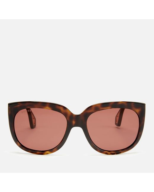 Gucci Square Sunglasses With Lateral Protections In Brown Acetate With Brown Lenses