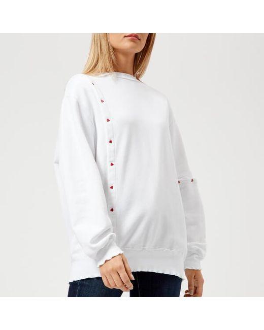 Maison Kitsuné - White Women's Asymmetric Sweatshirt - Lyst