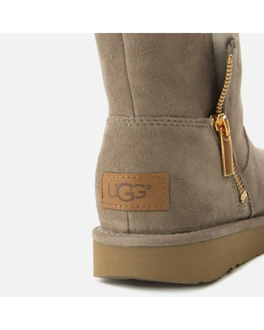 Lyst Ugg Women S Kip Suede Zip Side Boots In Grey