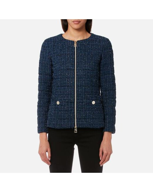 Lyst - Herno Women's Short Tweed Jacket With Chain Belt in Blue